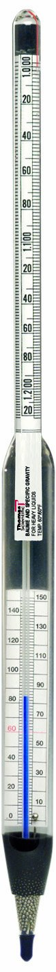 Thomas Specific Gravity and Baume Non-Mercury Thermo-Hydrometer, 20 to 150 degree F, 1.000 to 1.220 Gravity Range, 15'' Length by Thomas