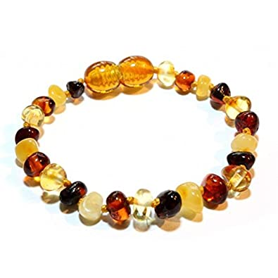 Genuine Amber Raw Amber Bracelet - Anklet - 100% Authentic Baltic Amber - Handmade Jewelry - Mixed colors