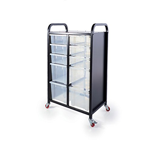 Guidecraft 10 Tray Mobile Storage Cart - Heavy Duty Rolling Metal Utility Drawer Organizer Truck with Various Size Plastic Bin Tubs, Office Furniture and School - Cart Supply Art Guidecraft