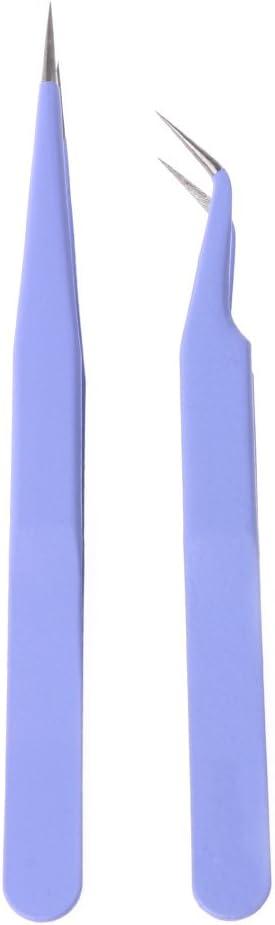 longsw 2pcs acero rosa derecha + pinza para Nail Art pestañas extensiones pinzas
