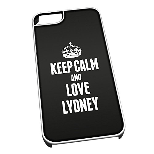 Bianco per iPhone 5/5S 0405Nero Keep Calm And Love Lydney