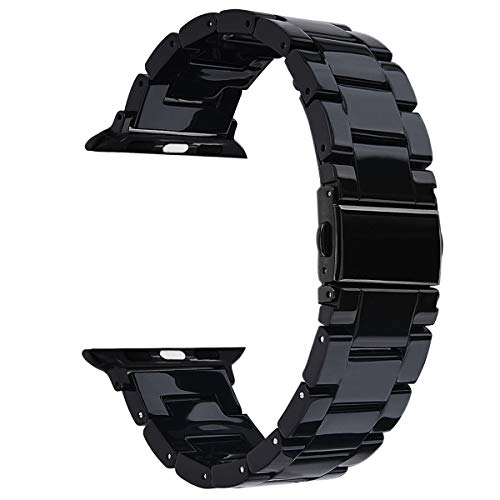 V-MORO Resin Band Compatible with Apple Watch Band 38mm 40mm iWatch Series 4/3/2/1 with Stainless Steel Buckle Black Replacement Wristband Strap Women Men (Black-Tone, 38mm/40mm) (Black Resin Strap)
