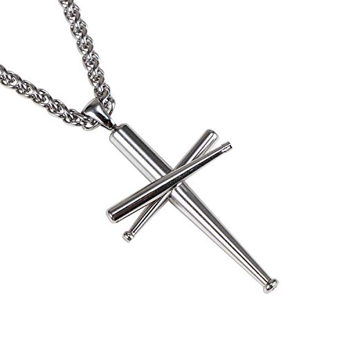 WMISIY Baseball Necklace for Boys Men Stainless Steel Baseball Bat Pendant Chain Silver 24 Inches