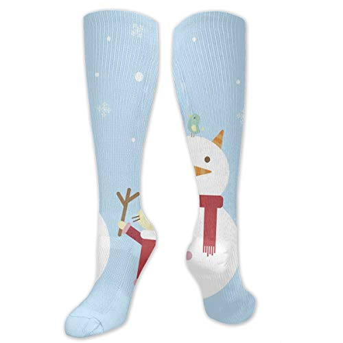 Stretch Socks Illustration of A Cartoon Cat Building A Snowman Great Winter Warmth for Women & Men Athletic Sports