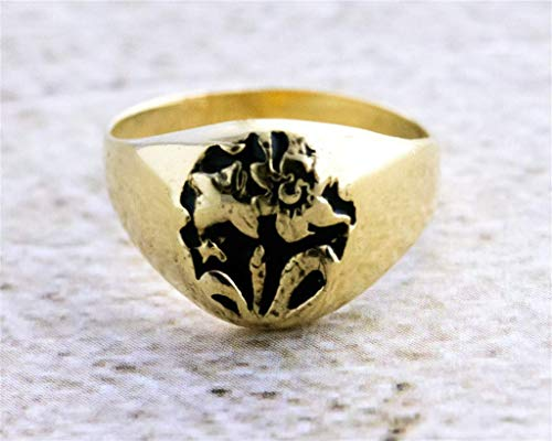 - Signet Ring for Men OR Women, Unique Handmade 14K Gold Plated Flowers Seal Ring, Size US 5, Artisan Unisex Statement Jewelry