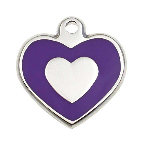 (LuckyPet Pet ID Tag - Stainless Steel Heart Jewelry Tag- Custom engraved cat & dog ID tags. Size: Large, Color: Purple)