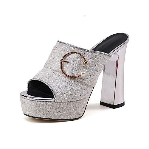Mode Bling Supérieure Plate La 42 Chaussures Style Été Hoesczs Talons Taille forme Escarpins Hauts Mules Femmes Femme 2018Plus White 33 Y76gbyf