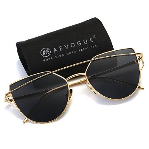 AEVOGUE Sunglasses For Women Metal Nose Pad Cat Eye Frame Brand Designer AE0342 (Gold&Black, - Nose Sunglasses Pads Without