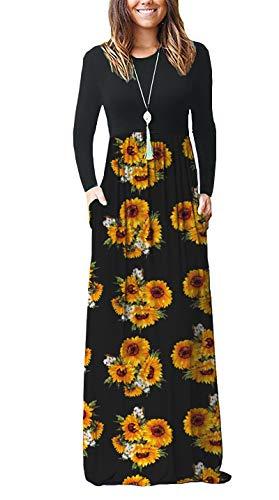 Pocket Dress - AUSELILY Women Long Sleeve Loose Plain Maxi Dresses Casual Long Dresses with Pockets (XL, Sunflowers)
