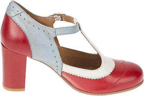 La Veintinueve Dames Pumps Ada Retro T-strap Strappy Schoenen Gesloten Rood / Grijs Blauw / Crème