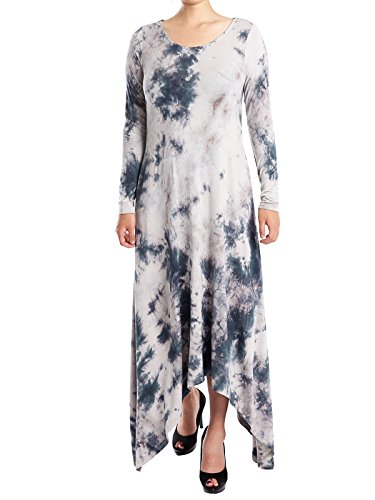 JayJay Women Casual Hemline Long Sleeve Split Tie Dye Long Maxi Dress with Pocket,Blue,2XL by JayJay Company (Image #1)