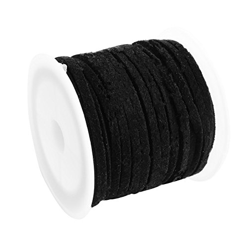 Black Lace String (Pandahall Faux Leather Lace Beading Thread 3mm Faux Suede Cord String Velet 5 Yards with Roll Spool, Black)