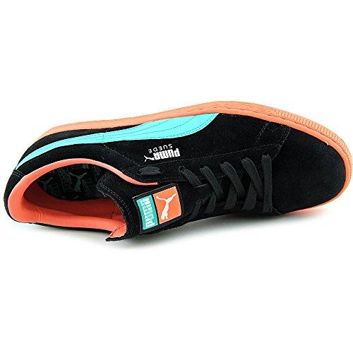 Puma 356328 Heren Suede Classic + Lfs Schoenen, Zwart / Fluo Groenblauw / Fluo Perzik - 14