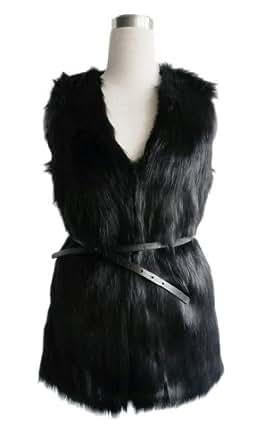 LookbookStore Vintage Trend Celeb Black Faux Fur Long Vest US 4 - US 6