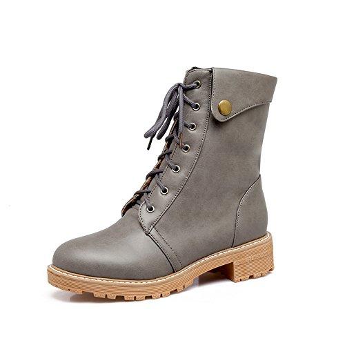 BalaMasa Womens Casual Retro Slip-Resistant Urethane Boots ABL10333 Gray