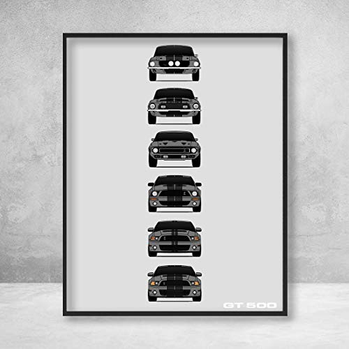 Shelby Mustang GT500 Generations Poster Print Wall Art of the History and Evolution of the Ford Shelby GT500 (Grey Car, Black Stripes)