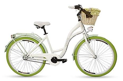 Goetze Colours 26 Zoll Damen Citybike Stadtrad Damenfahrrad Damenrad Hollandrad Retro-Design 3-Gang Korb Hinterradbremse LED-