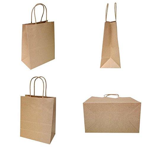 250Pcs Tempo Natural Kraft Shopping Bag 65# Natural Kraft Paper, Classic Shoppers ,8 1/4 X 4 3/4 X 10 1/2