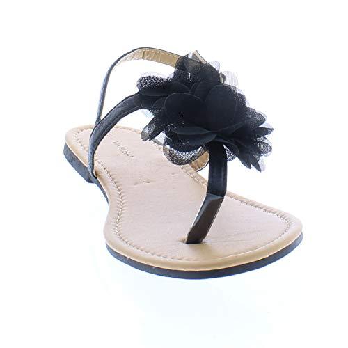 (26 Accessories Via Rosa Women's Metallic Sandal with Chiffon Flower, Black 8)
