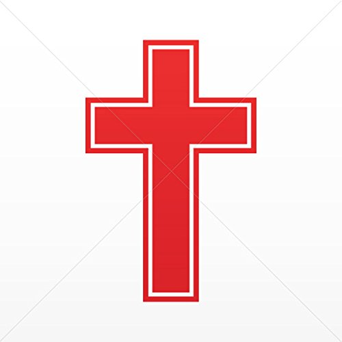 (Religion Various sizes Sticker Cross Patonce Fleury Trinity Tablet Laptop Weatherpr Red (4 X 2.61 Inches))