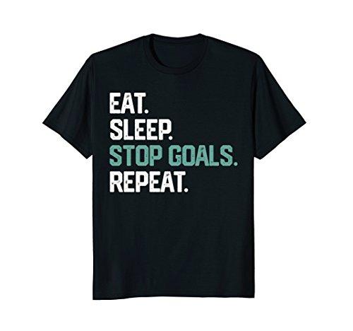 EAT SLEEP STOP GOALS REPEAT SHIRT Goalie Soccer Hockey Kids