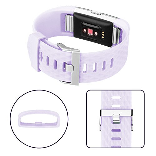 Wishesport For Fitbit Charge 2 Bands Special edition Replacement Bands Accessory Sport Bands Strap for Charge 2 HR Fitness Diamond S Lavender