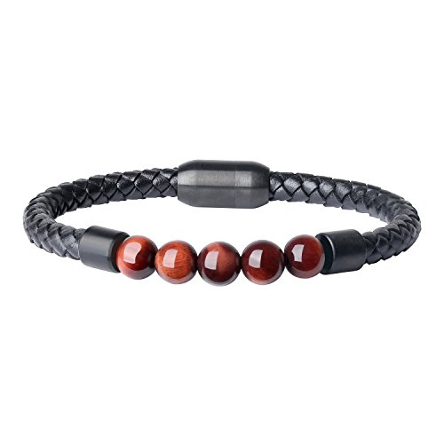 (COAI Leather Mala Beads Tiger Eye Chakra Stone Bracelet for Men)