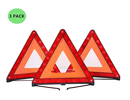 ATP Triangle Warning Frame Triangle Emergency Warning Triangle Reflector Safety Triangle Kit 3 Pack ()