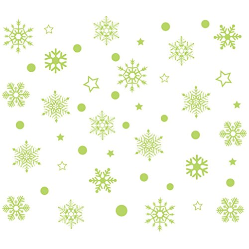 Christmas Window Stickers,Christmas Nowflake Luminous Removable Wall Window Stickers Art Decals Home Shop By Dacawin (Green)