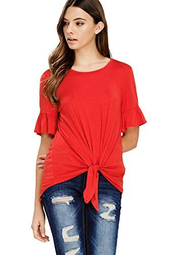 Annabelle Women's Casual Short Sleeve Knot Tie Front Loose fit Tee T-Shirt Blouses Poppy Red Medium T1200 ()