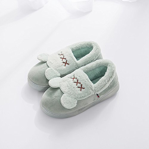 LaxBa L'hiver au chaud, l'hiver Chaussons Chaussons moelleux Accueil chaleureux en hiver, chaussures antiglisse Chambre Chaussons lac peu profond de vert44-45 [43-44] usure pieds