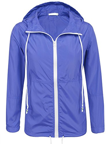 - SoTeer Women Lightweight Hooded Jacket Waterproof Windbreaker Rain Coat (Blue XXL)