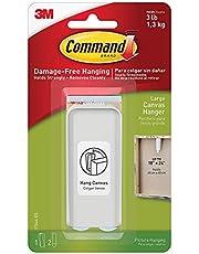 Command 17044-ES Canvas Picture Hanger, Large, White, 1 Hanger 2 Strips