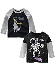 Nuziku Boys Dinosaur Clothes Long Sleeve Crewneck T-Shirts Top Tee for Size 2-9 Years 2 Pack