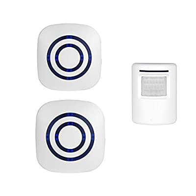 Wireless Home Security Driveway Alarm, Enegg Entry Alert, Visitor Door Bell Chime with 2 Plug-in Receiver and 1 PIR Motion Sensor Detector Alert System, Quality Sound and LED, 38 Melodies