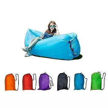 Aire saco de dormir impermeable Lazy Lay laybag Hangout aire sofá sofá tumbona saco de dormir rápido hinchable Camping sofá Banana, hombre mujer, ...