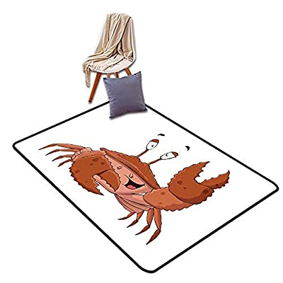 Indoor Super Absorbs Mud Doormat Crabs Friendly Chela Arthropod Waving His Nipper Greeting with a Big Smile Funny Creature W4'xL6' Suitable for Family