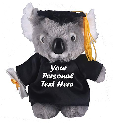Plushland Plush Stuffed Animal Toys 8 Inches Present Gifts for Graduation Day, Personalized Text, Name or Your School Logo on Gown, Best for Any Grad School Kids (Graduation Koala Black Gown)