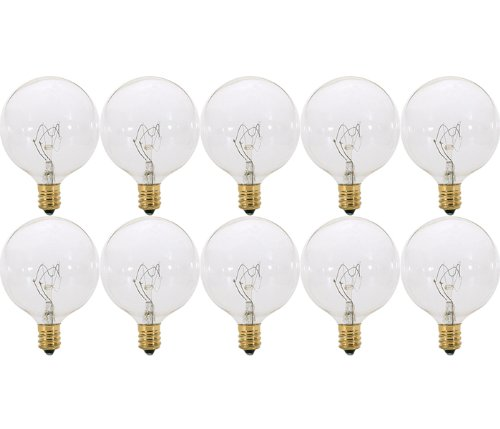 Pack of 10 40 Watt Clear G165 Decorative E12 Candelabra Base Globe Shape 120V 40G16 12 Light Bulbs