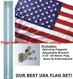 Spinning Flagpole USA American Flag Kit - SALE!