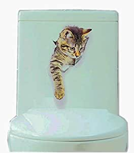 3D Cats Wall Decals Removable Toilet Lid Stickers for Bathroom/Kids Room/Refrigerator Decoration