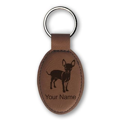 Keychain - Chihuahua Dog - Personalized Engraving Included (Dark Brown) (Chihuahua Keychain)