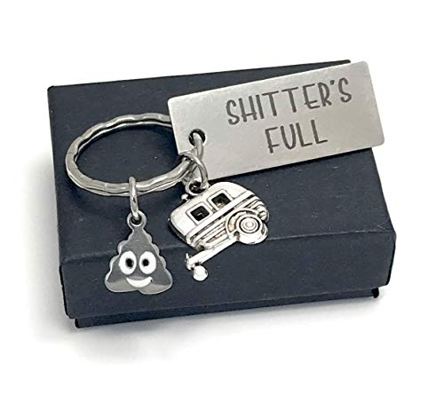 Shitters Full Keychain Engraved Metal Key Ring with RV Trailer and Poo Charm - Funny Camping Gift (Camper Keychain)
