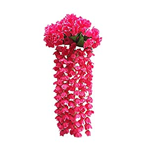 Euone Clearance Sales,Hanging Flowers Artificial Violet Flower Wall Wisteria Basket Hanging Garland 108
