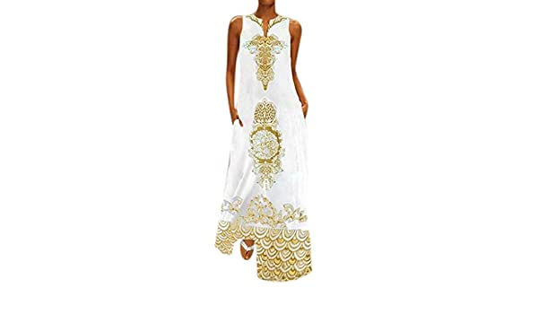 Yellow,S Kaftan Dresses For Womens Casual Sleeveless V-neck Flower Print Maxi Tank Long Dress For Anniversary,Party,Valentines Day