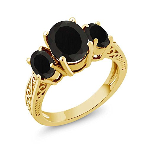 (Gem Stone King 925 Yellow Gold Plated Silver Black Onyx 3-Stone Women's Ring 2.41 Ctw Oval Cut (Size 6))