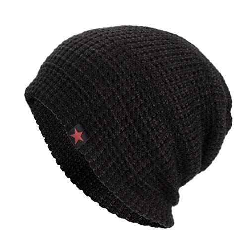 iYBUIA Casual Unisex Warm Baggy Weave Crochet Winter Wool Knit Ski Beanie Skull Caps Hat(Black,One Size)