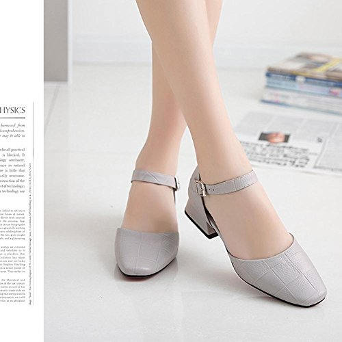 L@YC Women With Coarse Sandals Summer Leather Baotou Big Word Word Buckle Square Head Comfortable Shoes Gray PRm9p
