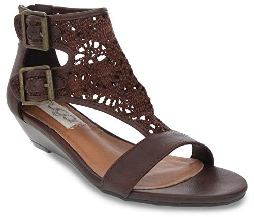 Sugar Women's Wigout Demi Wedge Sandal 6 Dark Brown Crochet