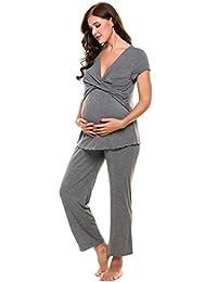 Ekouaer Women's Maternity Nursing Pajama Soft Hospital Sleepwear Set Cotton Short Sleeve Pregnancy Breastfeeding PJ S-XXL